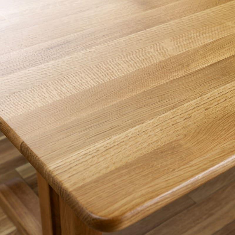 LDソファ ブレード�U 背無ベンチ オーク/布OR:無垢材の風合いを楽しめる天板