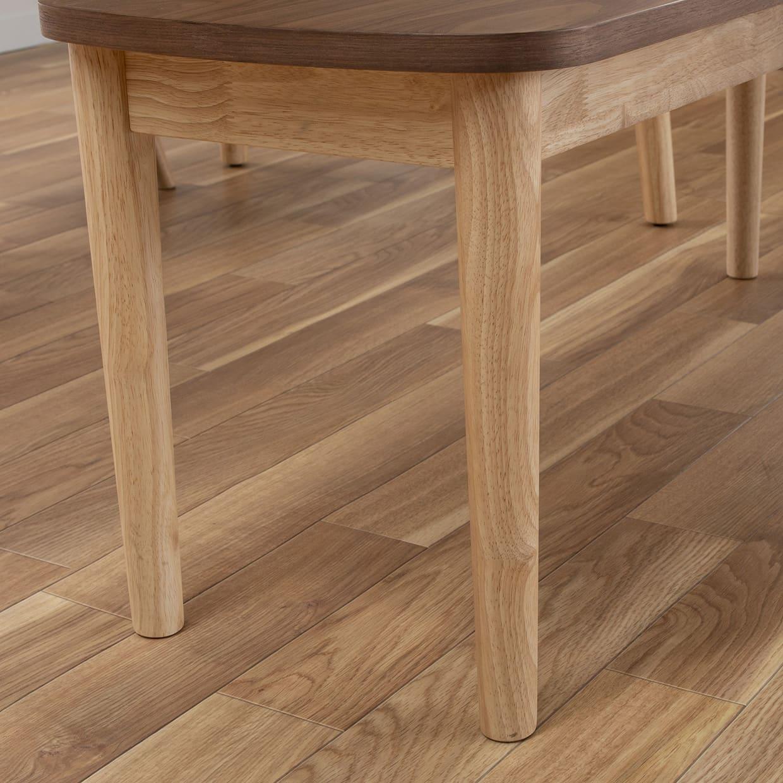 ダイニングテーブル レシピ 145:脚はラバー無垢材を使用