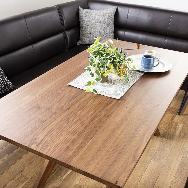 LD3点セット マルクト テーブル/3人掛けソファ/片肘シェーズ (ウォールナット/LR23ローストBR):高級感のある木目天板