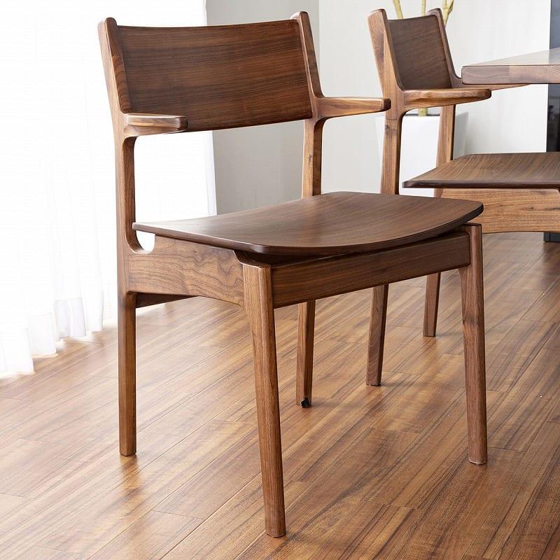 ダイニング5点セット グリン・リーベ(テーブル:150テーブル/板座チェア×2/120ベンチ/オプション引出)WN:身体に沿う曲線デザイン