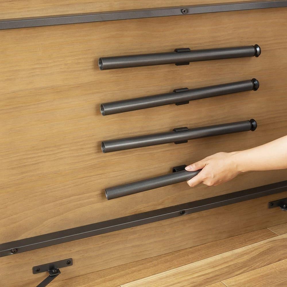 ダイニングテーブル トイ フォールディングテーブル150 WN:余った脚は裏に収納♪