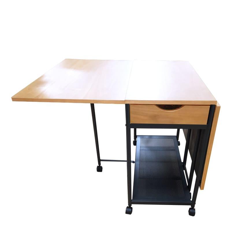 バタフライテーブル レイズ OAK:天板は両端伸長式で小物が入れられる引出付き
