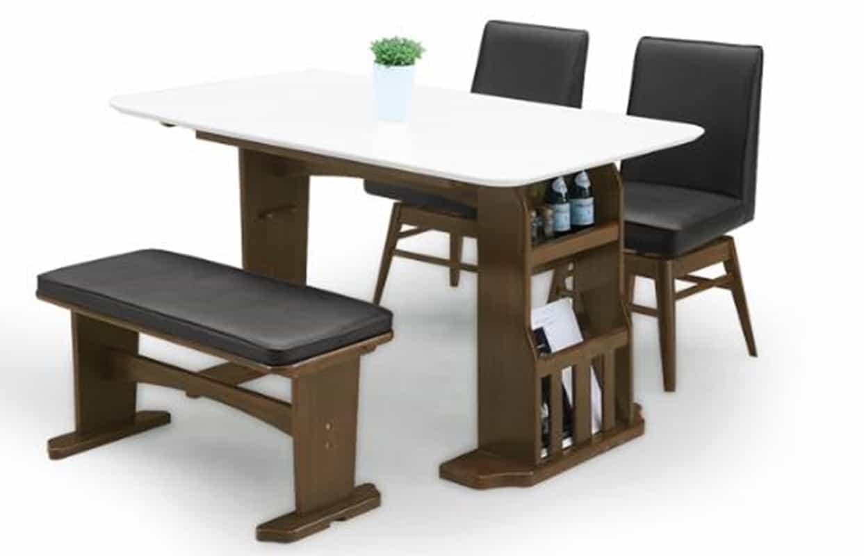 【ネット限定】ダイニング4点セット エルトン DBR:テーブルは伸長可能なダイニングセットW90〜120