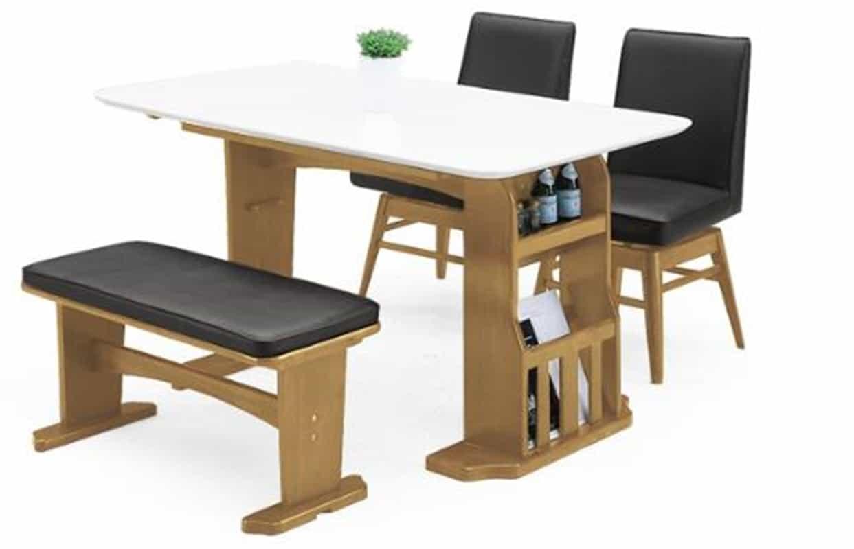 【ネット限定】ダイニング4点セット エルトン LBR:テーブルは伸長可能なダイニングセットW90〜120