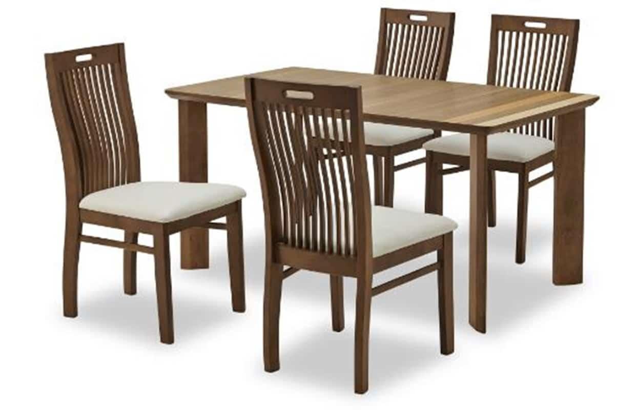 【ネット限定】ダイニング5点セット エメロード:テーブルには3種の木材を張り合わせています