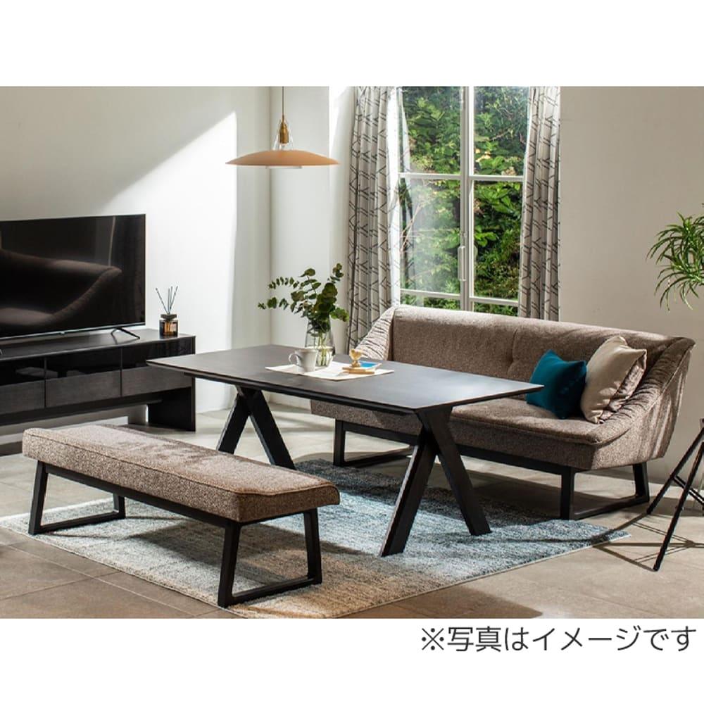 【カリモク】LD3点セット  neu (ノイ) ラウンジテーブル+ラウンジソファ+ベンチ (シアーBK/B734):テレワーク、お食事、お勉強など様々なシーンで使える、ラウンジスタイル。