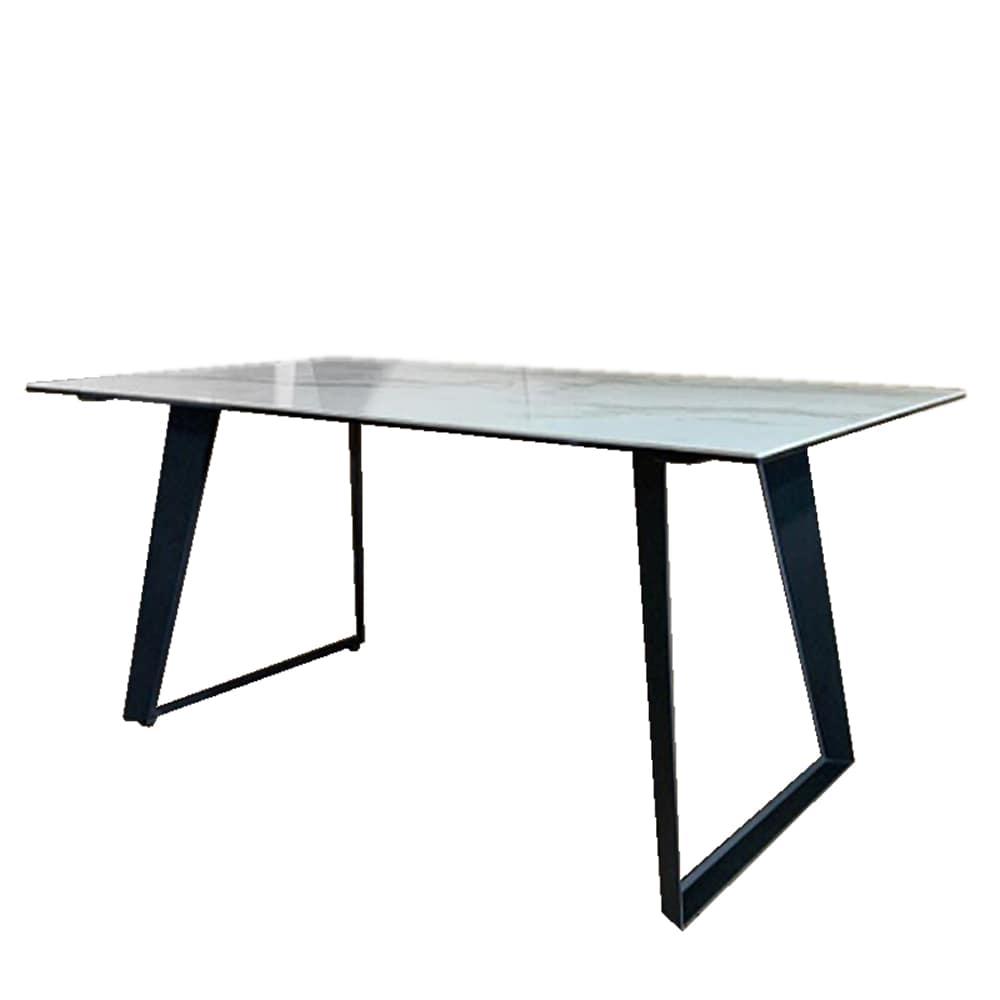 ダイニングテーブル ロータス 幅135天板WH/2本脚タイプ:天板には非常に強度のあるセラミック素材を採用
