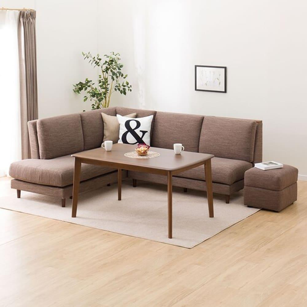 【ニトリ】 LD4点セット 左肘カウチソファ  LD1 ミドルブラウン/モカ:どんなお部屋にも馴染みやすいシンプルデザイン。