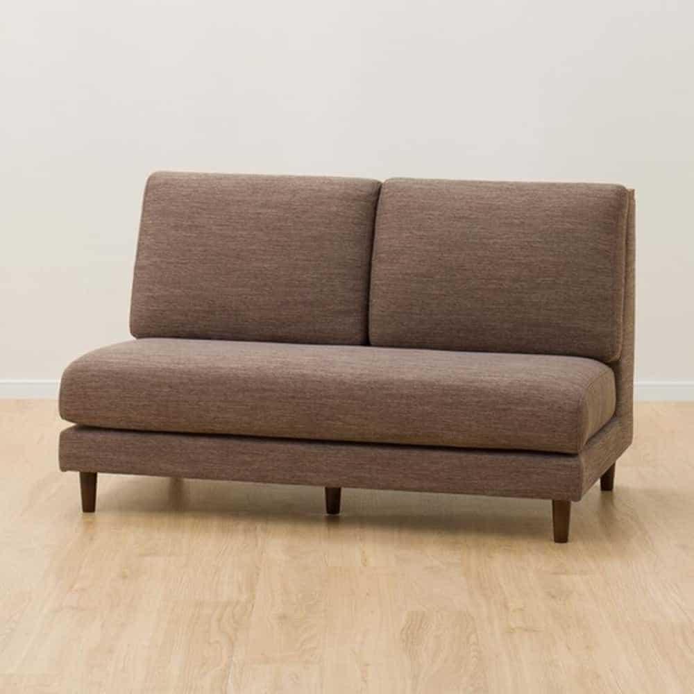 【ニトリ】 肘無2Pソファ LD1 MBR/DR−DMO ミドルブラウン/モカ:どんなお部屋にも馴染みやすいシンプルデザイン。