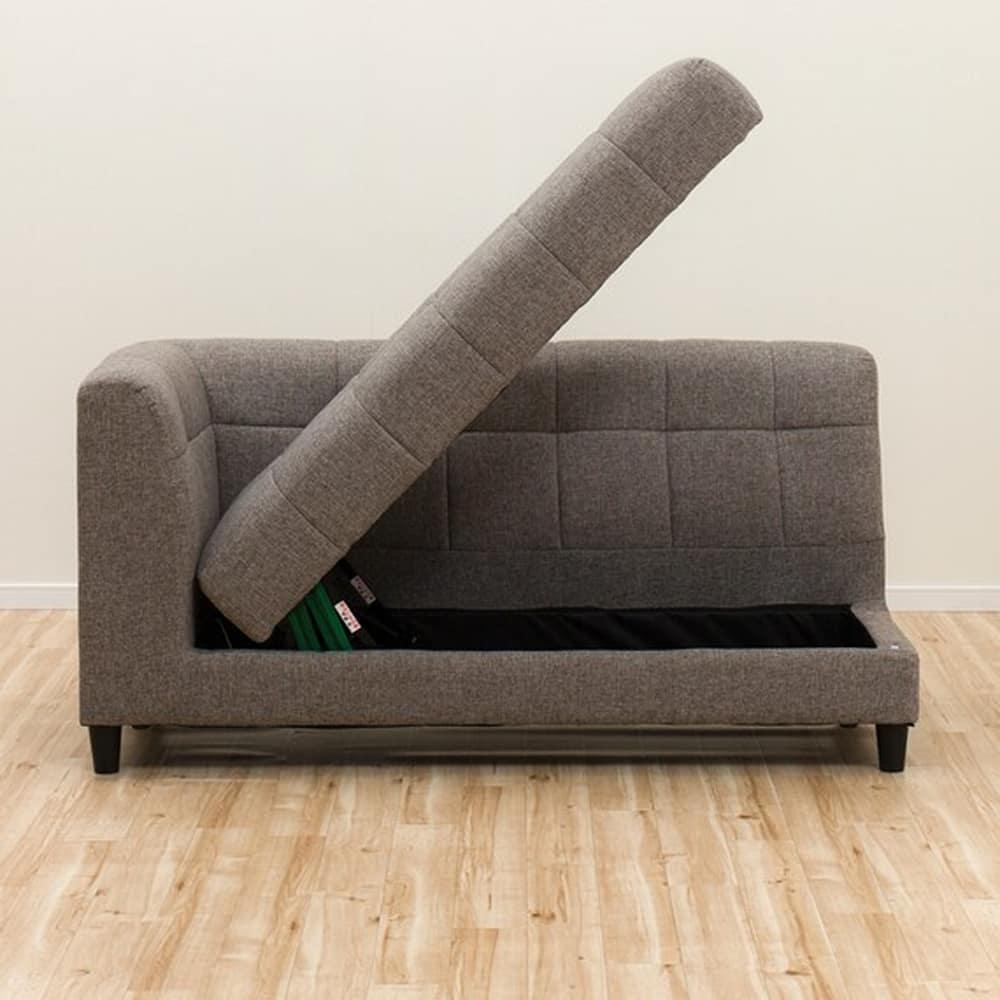 【ニトリ】 リビングダイニングソファ 収納付き右カウチソファ ピュール ボックス モカ:脚は脱着可能でロータイプソファとして使用できます。