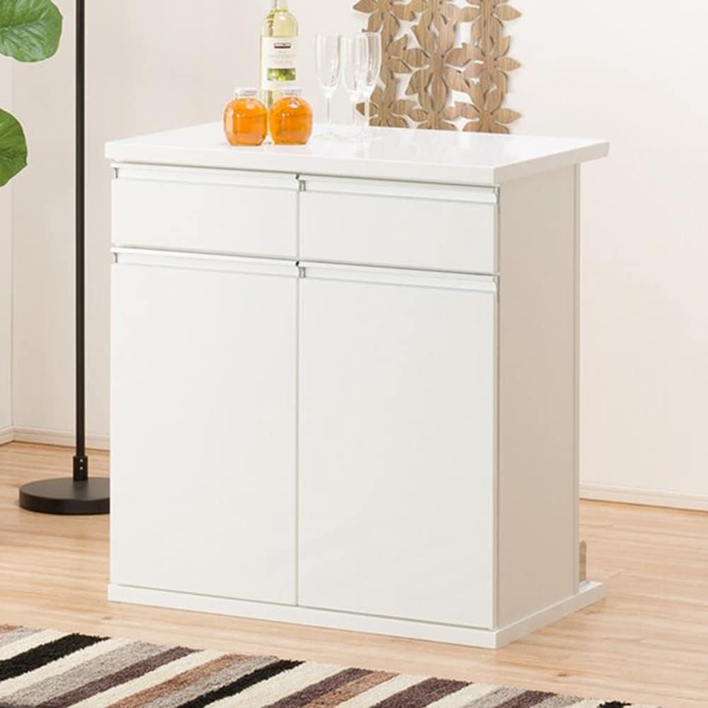 【ニトリ】 バーカウンター マルチ2 80BC WH ホワイト:表面は清潔感のある光沢仕上げで雰囲気のあるホームバーを演出。