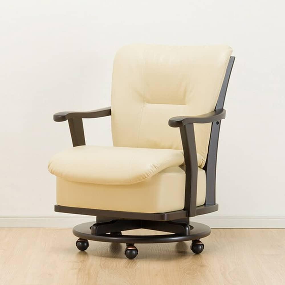 【ニトリ】 肘付き回転キャスター付チェア DC レベント DBR ダークブラウン:まるでソファのような座り心地