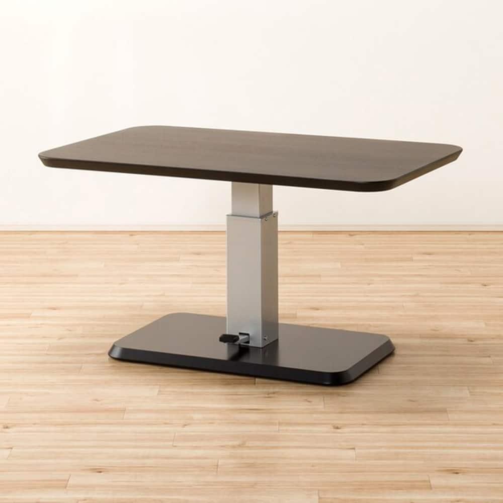 【ニトリ】 昇降式リビングダイニングテーブル  コラボ120DT DBR ダークブラウン:シーンに合わせて高さ調節ができる昇降テーブル。