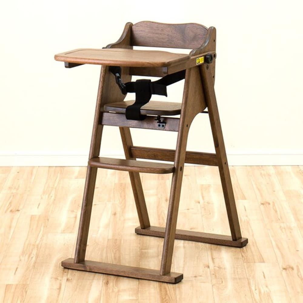 【ニトリ】 ハイチェア ハローダイアリーST5−MBR ミドルブラウン:転落防止用のベルト付きで安心