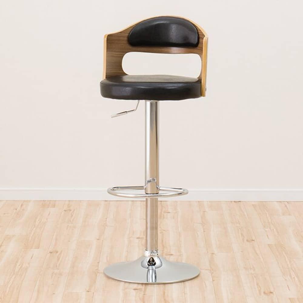 【ニトリ】 カウンターチェア ピコ ミドルブラウン:滑らかな曲線が美しい背もたれのデザイン