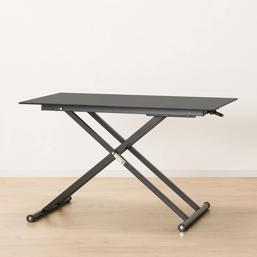 【ニトリ】 昇降テーブル ガラステーブル NEW アクティブ BK ブラック:大型の強化ガラスを天板に使用したスタイリッシュなテーブル。