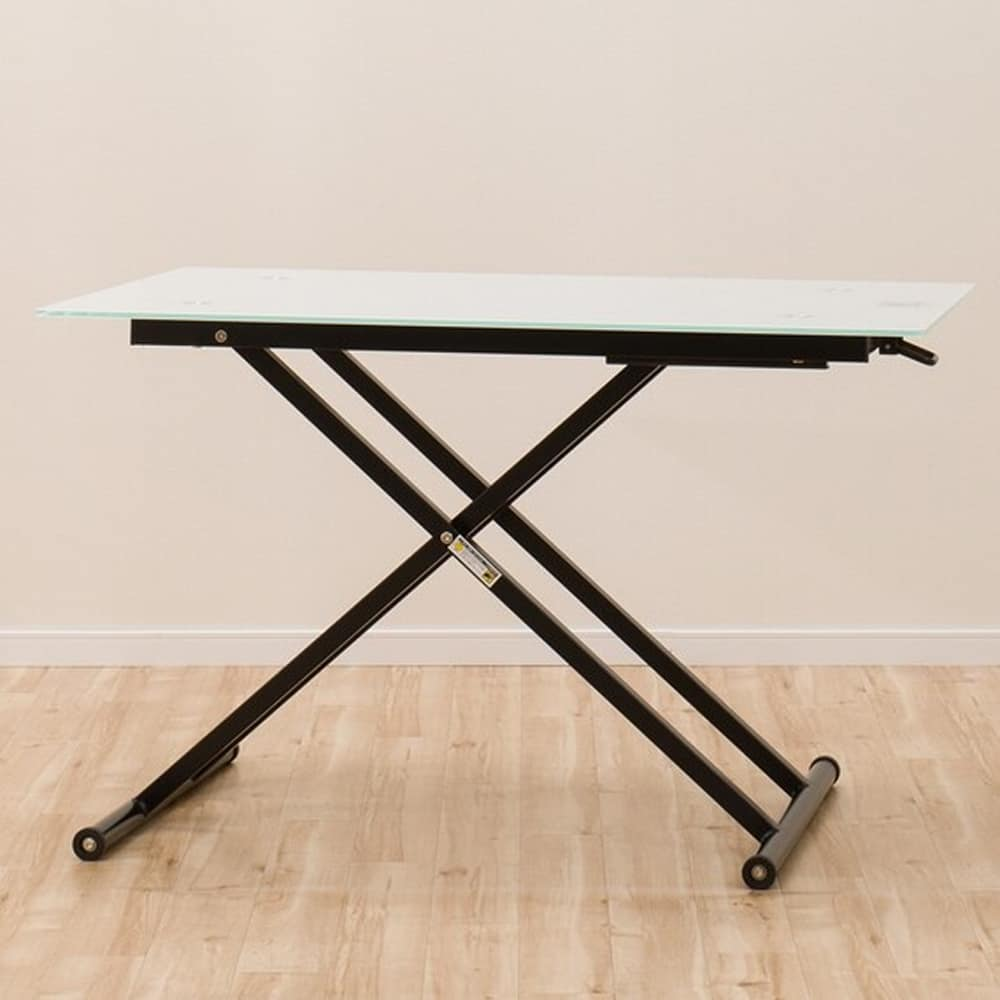 【ニトリ】 昇降テーブル ガラステーブル NEW アクティブ WH ホワイト:大型の強化ガラスを天板に使用したスタイリッシュなテーブル。