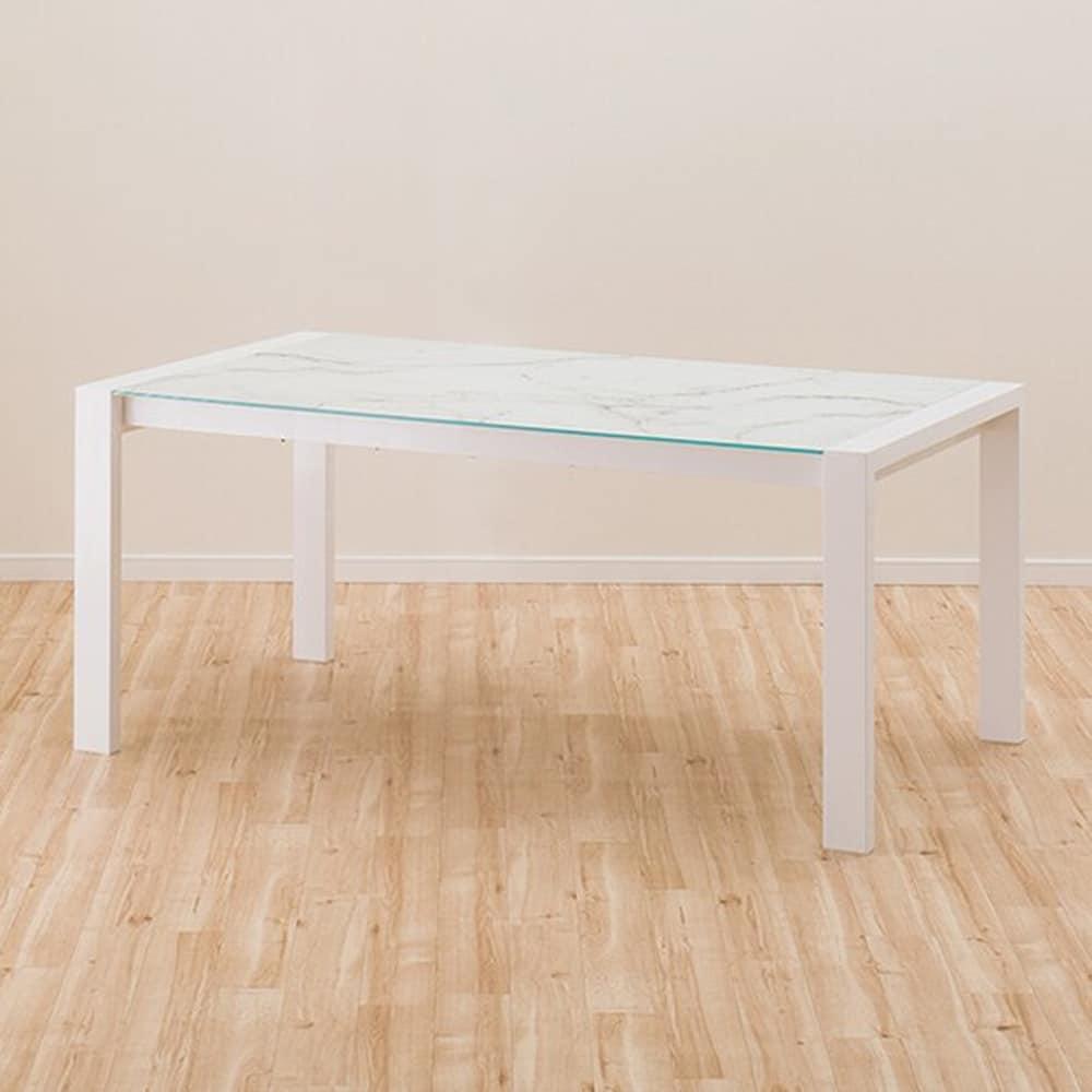 【ニトリ】 伸長式ダイニングテーブル エスペルト WH ホワイト:ガラス天板のシャープなデザインのダイニングテーブル。