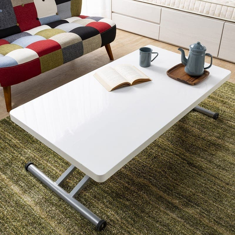 昇降リビングテーブル ステアー110:清潔感のあるホワイト天板