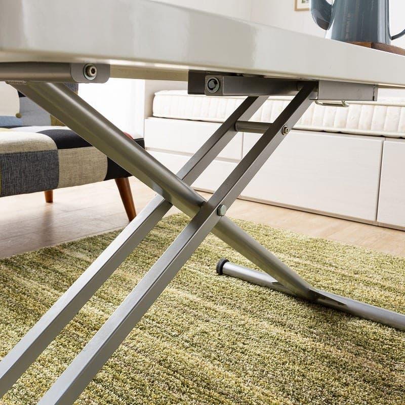 昇降リビングテーブル ステアー110:しっかり支えるクロスしたスチール脚