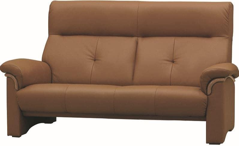 2.5人掛ソファー WL−2000(幅172cm) 皮革�bP050:《快適な座り心地のコンパクトハイバックソファー》