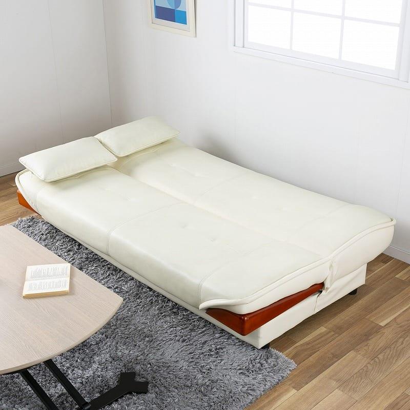 収納付ソファーベッド ラッセル�U(グリーン):ベッドとしてもご使用OK★