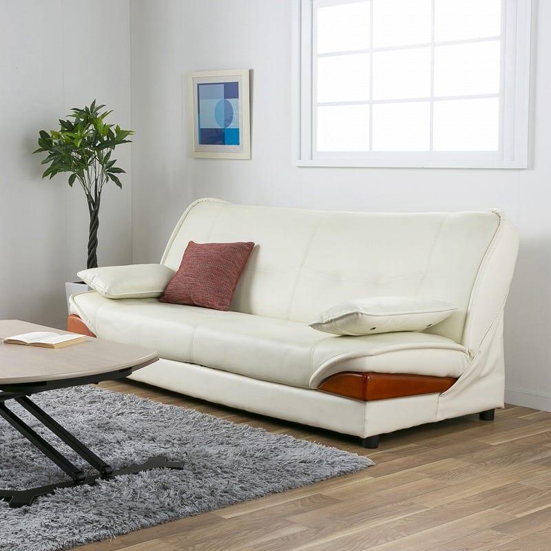 収納付ソファーベッド ラッセル�U(アイボリー):お部屋に高級感を与えるデザイン