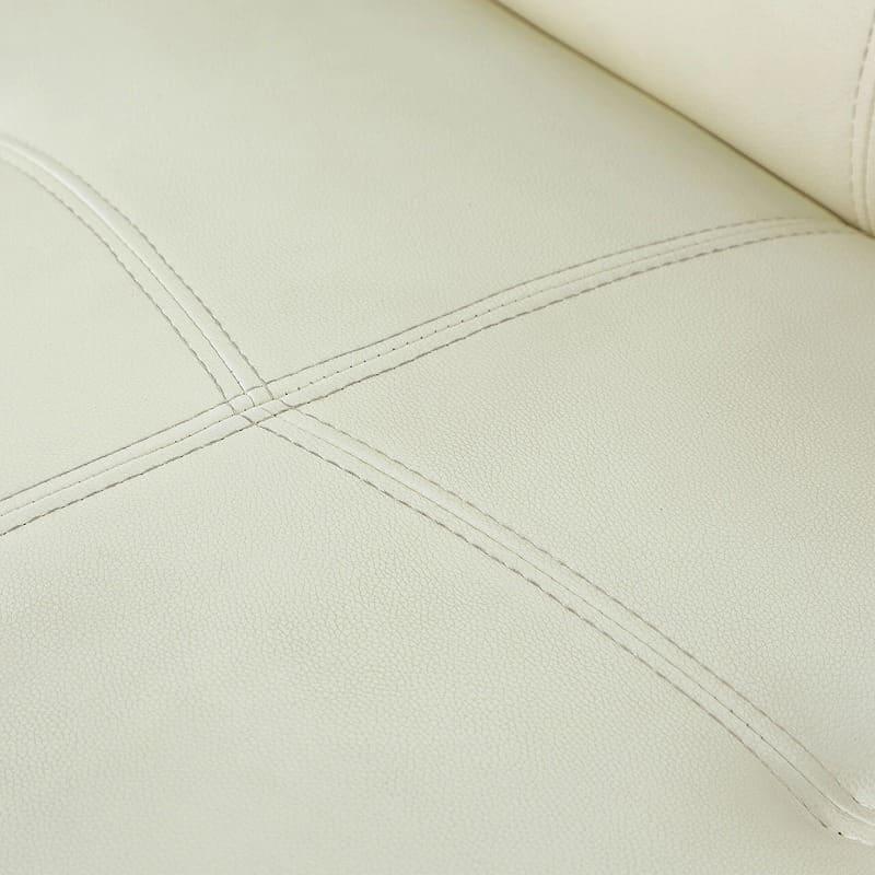 収納付ソファーベッド ラッセル�U(アイボリー):張地は合成皮革素材を使用
