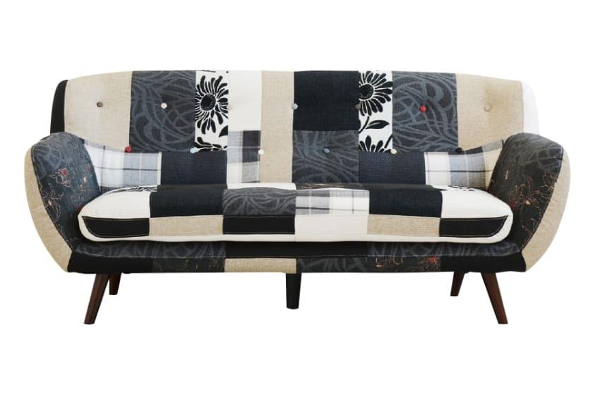 3人掛けソファー プライム Bタイプ:◆パッチワーク柄がおしゃれなソファーです。