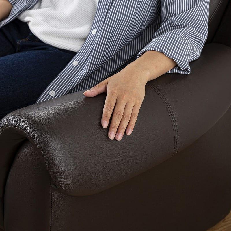 2人掛けソファー アーセナルD 150 HR4048(DBR):丸みのある肘かけ