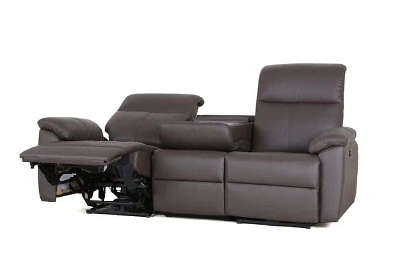 3人掛け電動ソファー ソフィアプラス(B-OMランク/OM448):テーブルはフラットタイプのダークブラウン色となります。