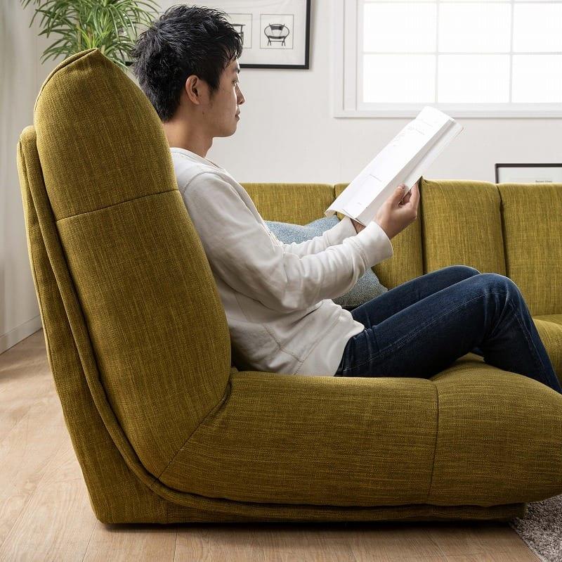 1人掛けソファー レイナ�Uハイバック(チャコール・グレー):座りやすい背もたれの絶妙な角度
