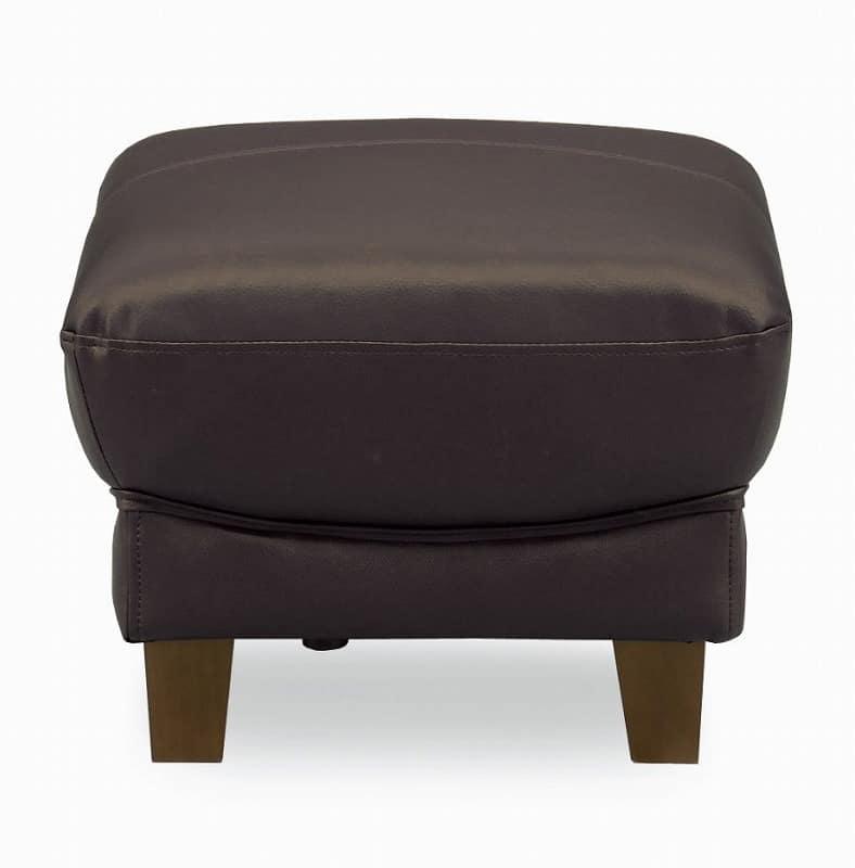 スツール クラブ革張り ダークブラウン:コンパクトタイプのベーシック半革張りソファー