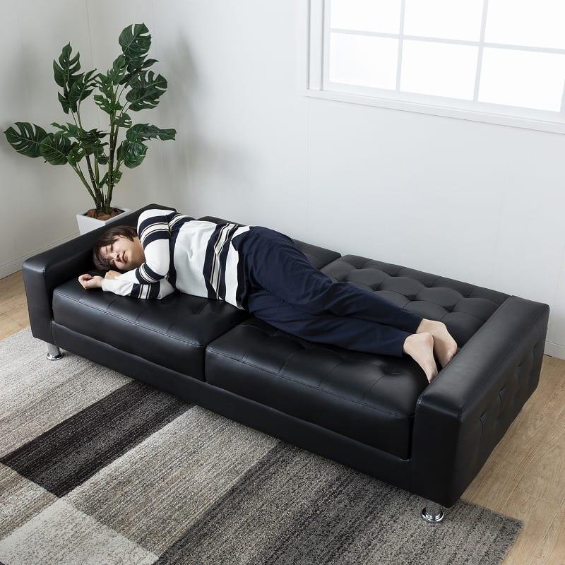 ソファーベッド リバー BK:ベッドにもでき、一人暮らしや急な来客にも活躍!
