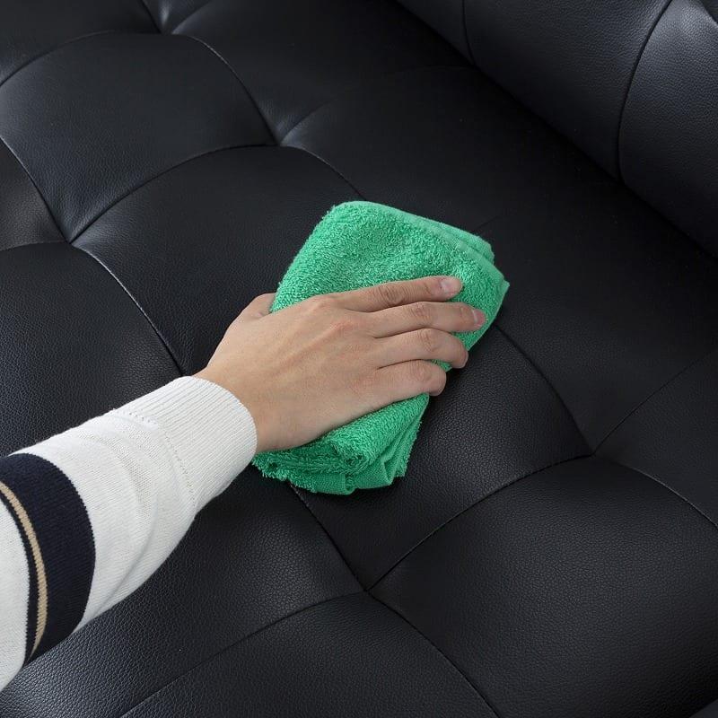ソファーベッド リバー BK:お手入れのしやすい素材を使用