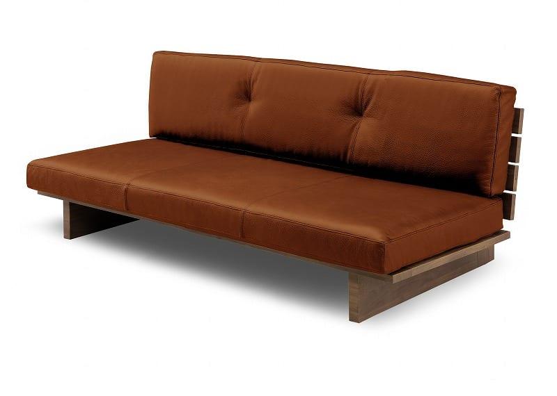 2.5人掛けソファーレザーウッド 160 BR:《総革張り・木製フレーム・ロータイプソファー》