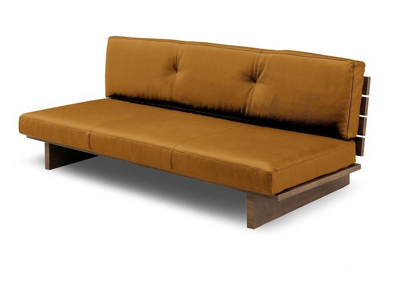 3人掛けソファーレザーウッド 180 CAMEL:《総革張り・木製フレーム・ロータイプソファー》