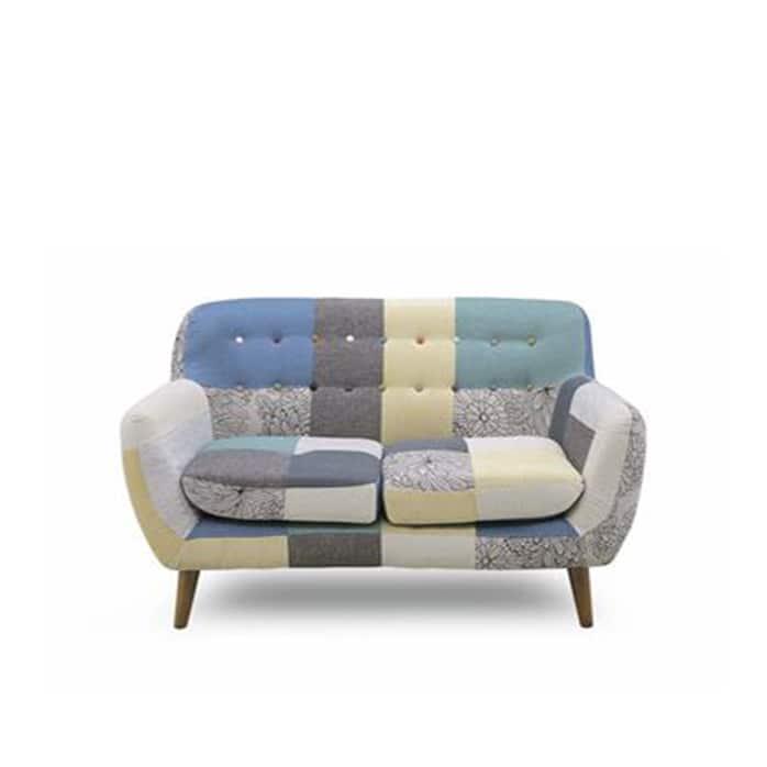 2人掛けソファー ヨランダ(メール):◆パッチワーク柄がおしゃれなデザインソファーです。