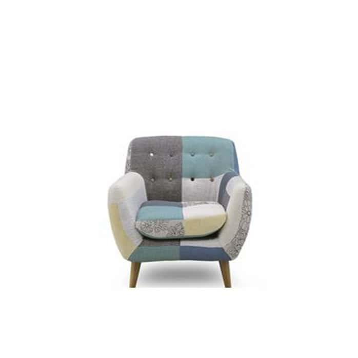1人掛けソファー ヨランダ(メール):◆パッチワーク柄がおしゃれなデザインソファーです。