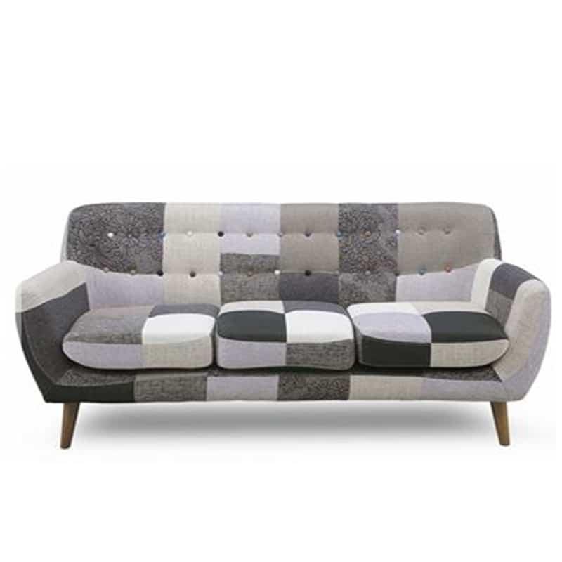 3人掛けソファー ヨランダ(モノ):◆パッチワーク柄がおしゃれなデザインソファーです。