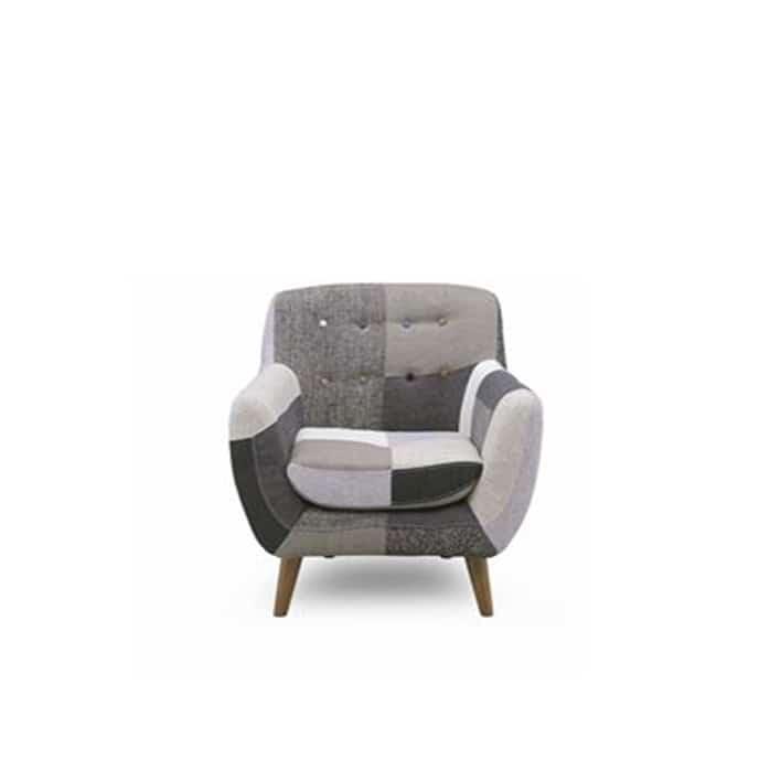 1人掛けソファー ヨランダ(モノ):◆パッチワーク柄がおしゃれなデザインソファーです。