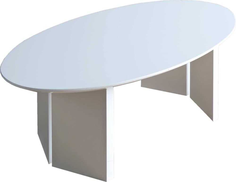 リビングテーブルロペ Lテーブル(楕円)−RWホワイト:リビングテーブル