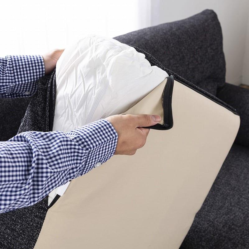 3人掛けソファー ハイタイプ 硬さハード Foam05:フルカバーリングで汚れも安心