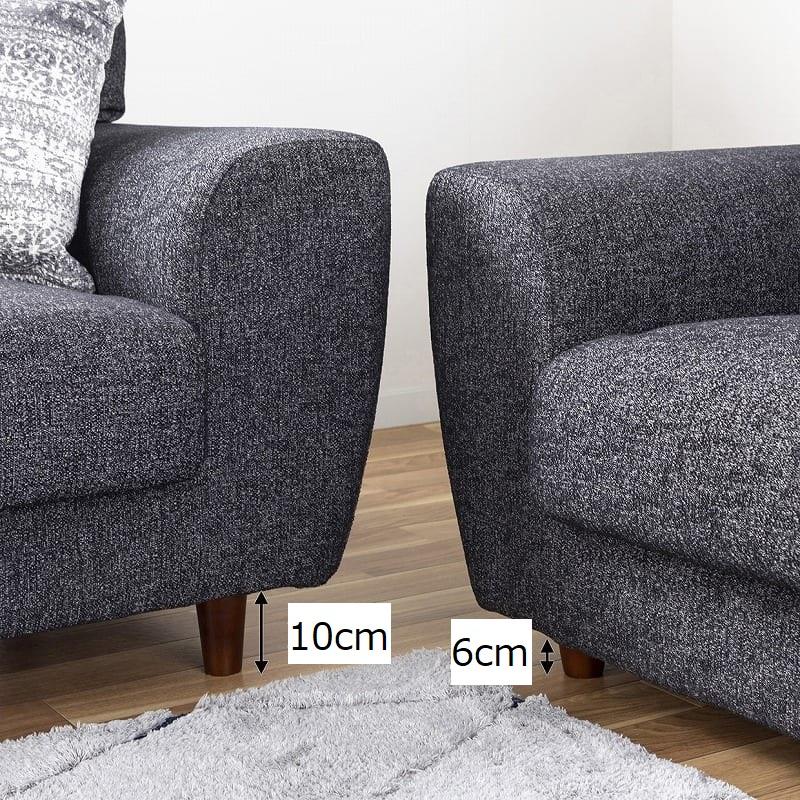 3人掛けソファー ハイタイプ 硬さハード Foam05:足の高さが選べる2種類