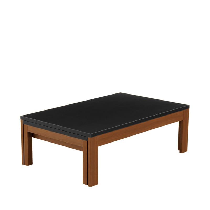 ファミリーテーブル ロングN 105×55 メラミン WN/BK:引っ張るだけで簡単に伸長できる、日本製リビングテーブル