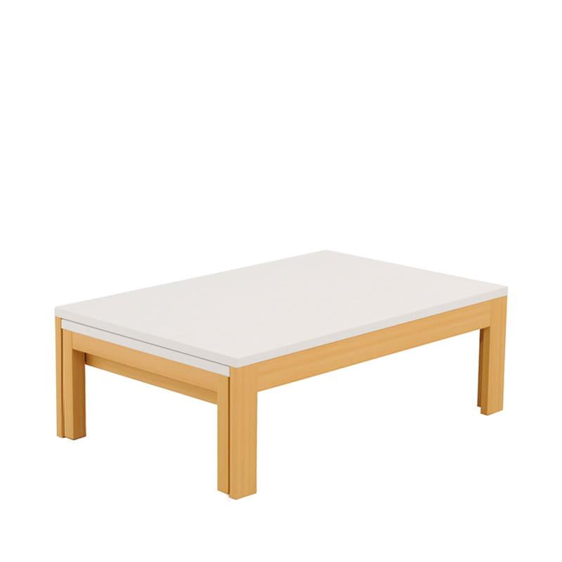 ファミリーテーブル ロングN 105×55 メラミン NA/WH:引っ張るだけで簡単に伸長できる、日本製リビングテーブル