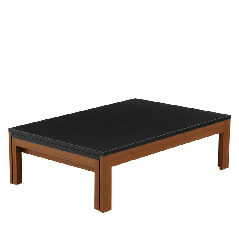 ファミリーテーブル ロングN 120×75 メラミン WN/BK:引っ張るだけで簡単に伸長できる、日本製リビングテーブル