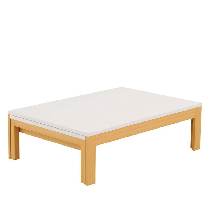 ファミリーテーブル ロングN 120×75 メラミン NA/WH:引っ張るだけで簡単に伸長できる、日本製リビングテーブル