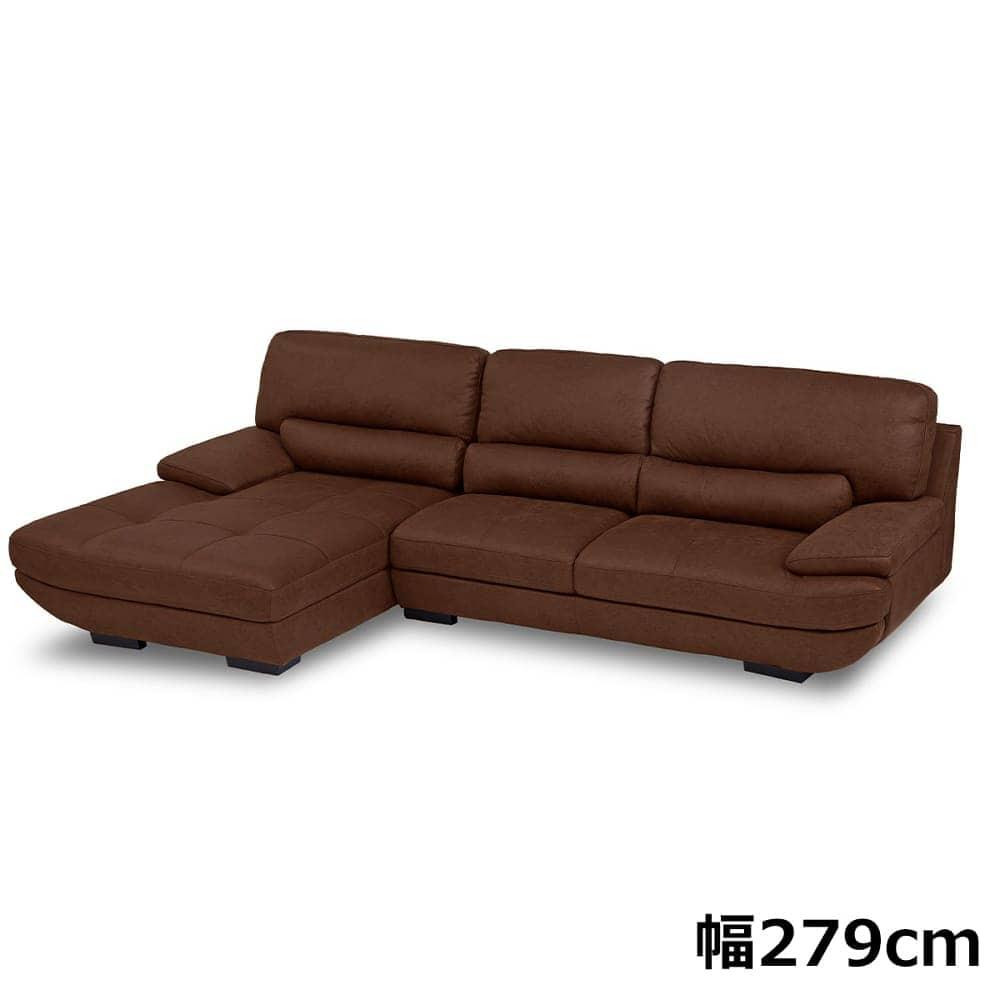 シェーズロングソファー トレビソ 座って右カウチ (カカオ):イタリアンデザインを採用したモダンソファー