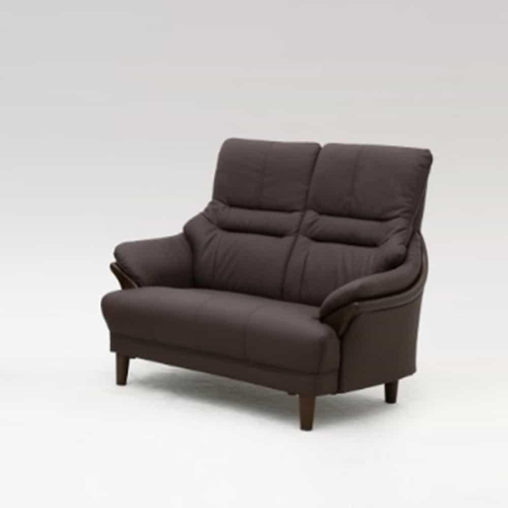 2人掛けソファ グレース 革 DBR:落ち着いた雰囲気のソフトレザーハイバックソファー